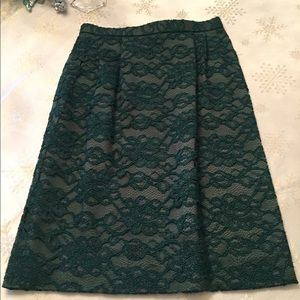 🎄💄👠TALBOTS GREEN LACE SKIRT SIZE 8P